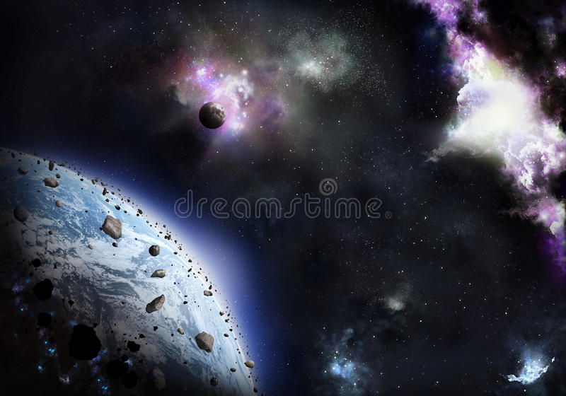 Planet Coverring Stone And Rubbish, With Cosmic Gl Stock Photos