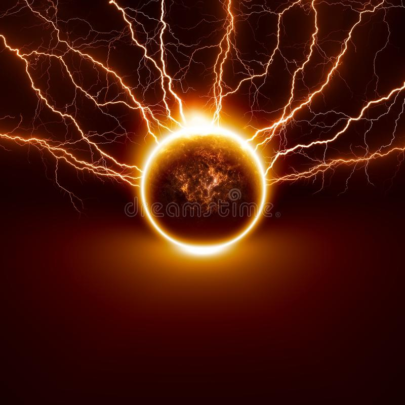 Planet in danger. Scientific background - planet Earth in danger, struck by big lightnings. Elements of this image furnished by NASA vector illustration