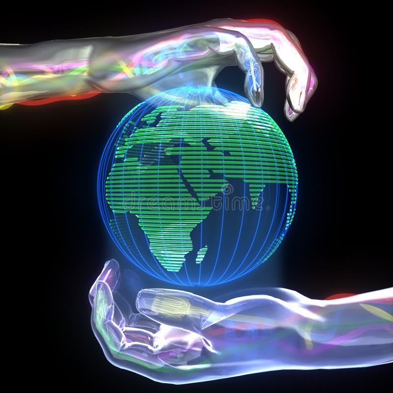 Planet in den Händen vektor abbildung