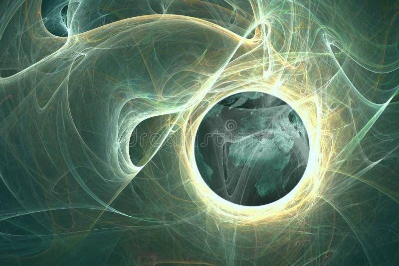 Planet in den himmlischen Wolken vektor abbildung