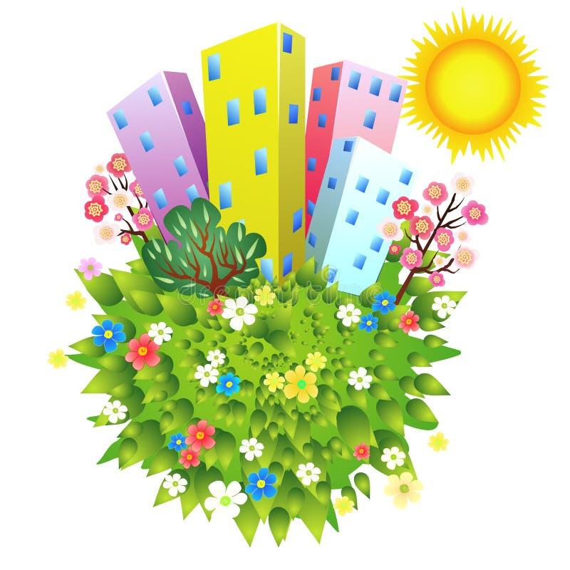 Planet der grünen Stadt lizenzfreie abbildung