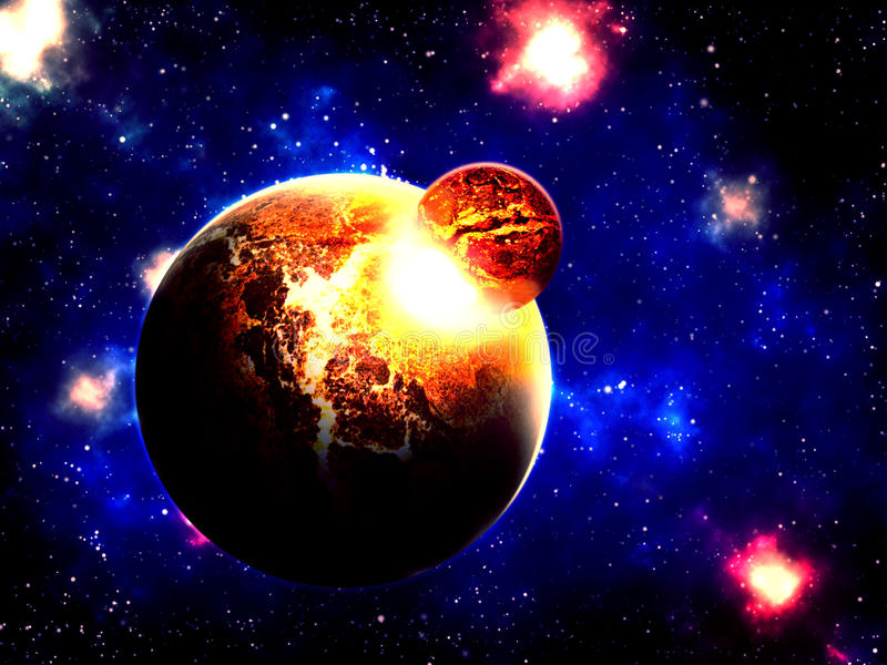 Planet destroyed in collision royalty free illustration