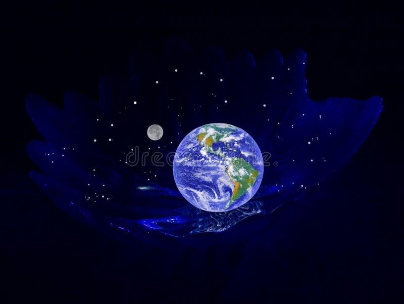 Planet die Erde in einer Aufnahmevorrichtung stockbild