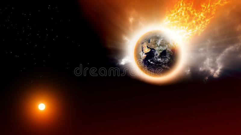 Planet disaster. 2012 background - destroying planet in space. Elements of this image furnished by NASA royalty free illustration