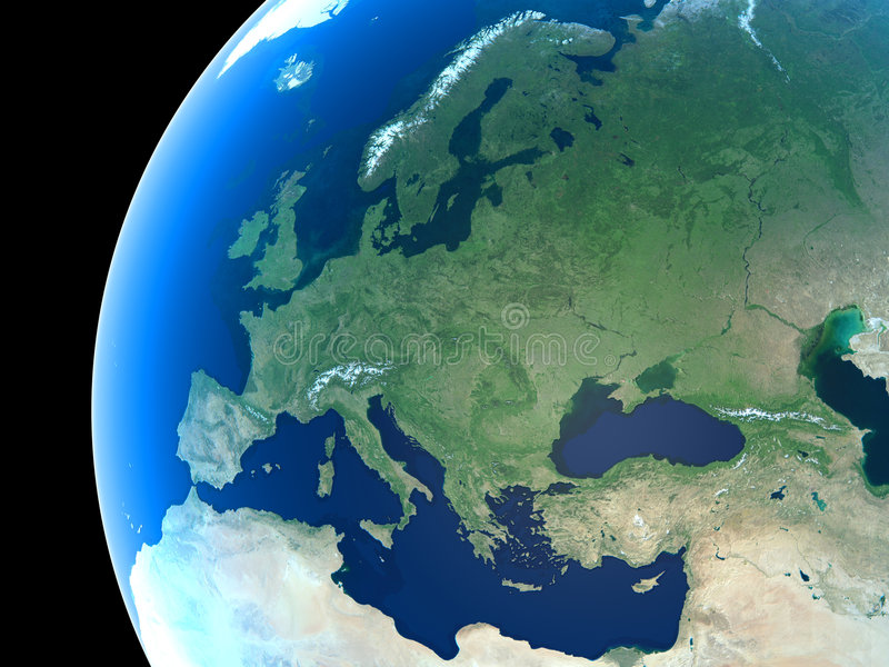 Planet Earth. Europe as seen from space vector illustration