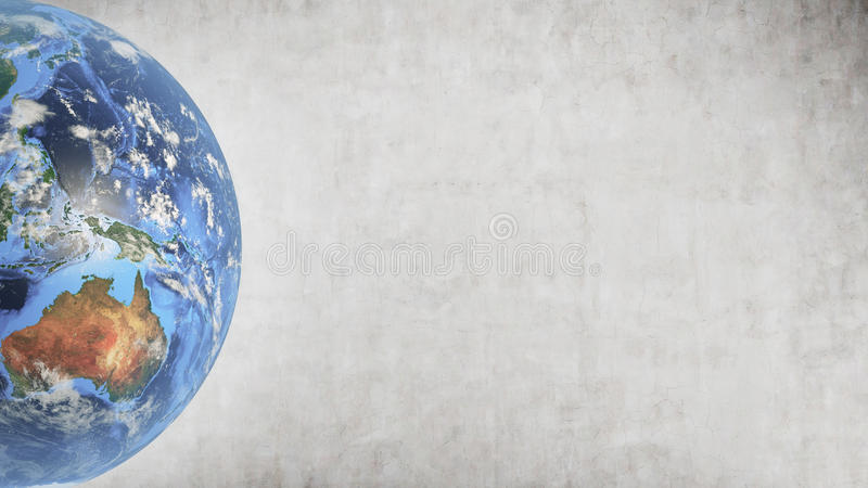 Planet Earth against concrete wall, left part of screen. Planet Earth in left part of screen against concrete wall background. Mock up. Elements of this image stock image
