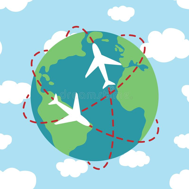planet Earth airplane route path globe on the blue sky with clouds travel map illustration vector royalty free illustration