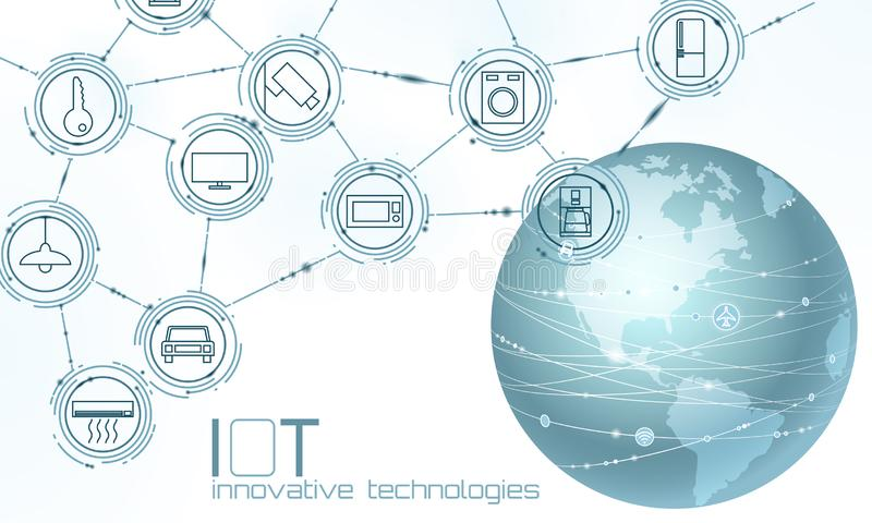 Planet Earth America USA continent internet of things innovation technology concept. Wireless communication network IOT royalty free illustration