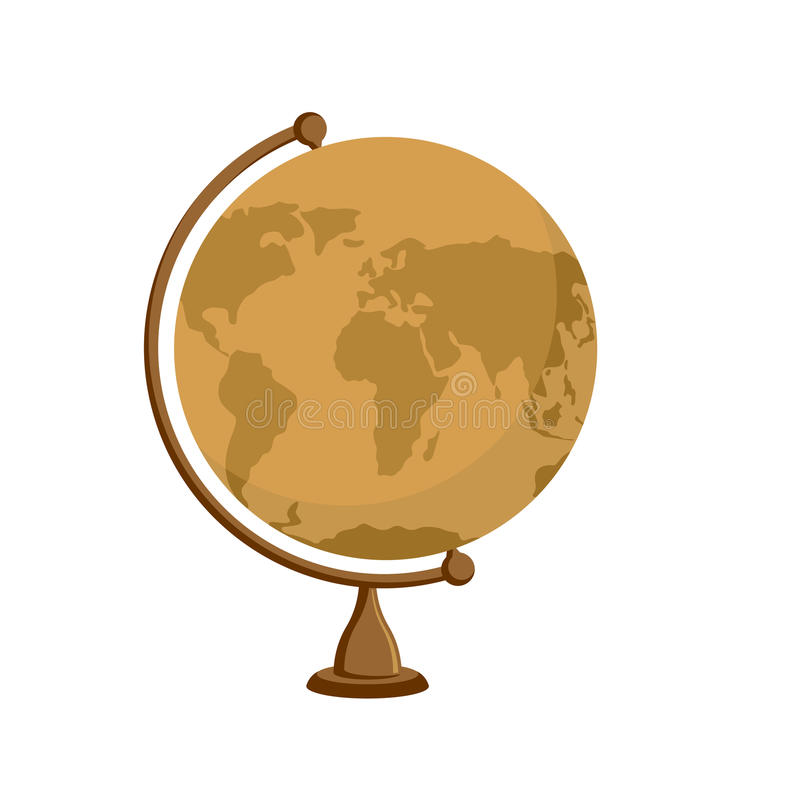 Planet earth - ancient school globe on stand. Subject for stud royalty free illustration