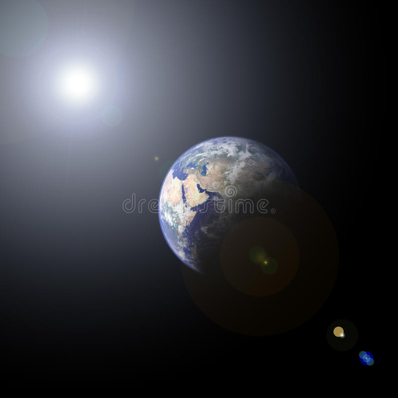 Free Planet Earth And Sun Stock Image - 9782781