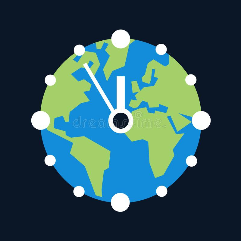 Planet Earth as clock dial. Metaphor of climate change as urgent global environmental and ecological issue for the future. Vector illustration royalty free illustration