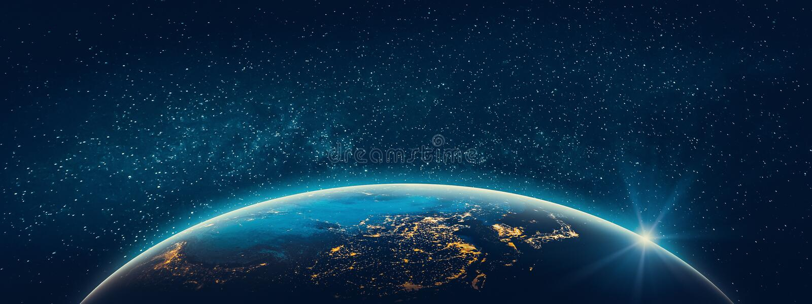 Planet Earth - Asia city lights stock images