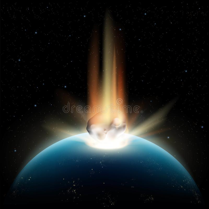 Planet earth and asteroid royalty free illustration