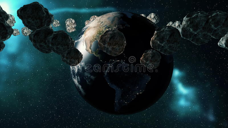 Planet Earth and asteroids spinning around its axis. Futuristic cosmic background stock illustration