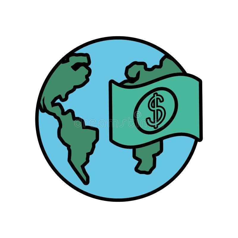 Planet earth with bill dollar. Vector illustration design vector illustration