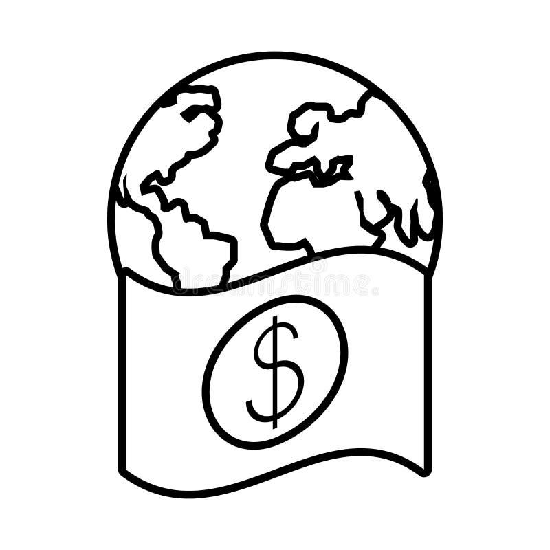 Planet earth with bill dollar. Vector illustration design royalty free illustration