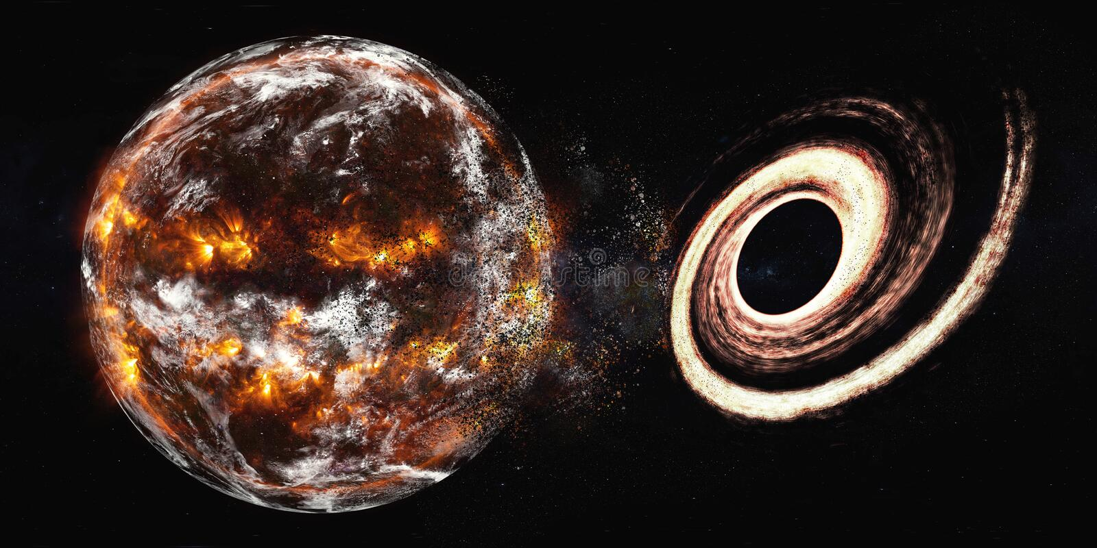 Planet Earth with black hole explosion royalty free illustration