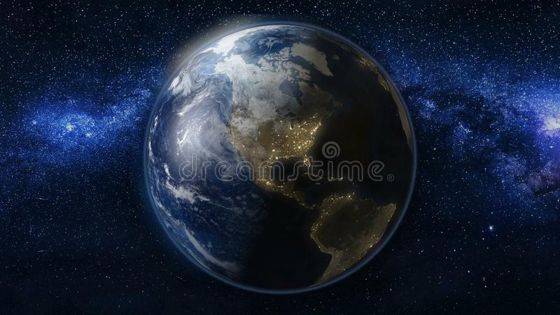 Planet Earth in black and blue Universe of stars stock photos
