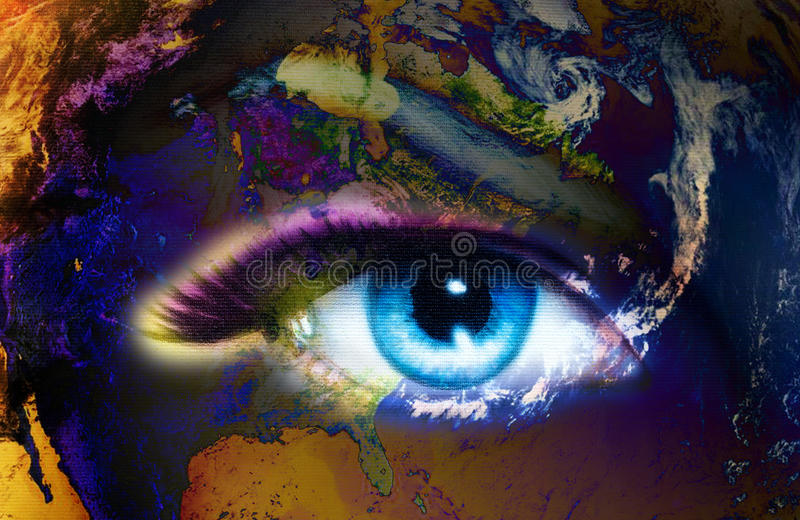 Planet Earth and blue human eye with violet and pink day makeup. Eye painting.  stock illustration