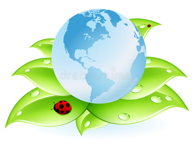 Planet Earth blue and leaves vector illustration