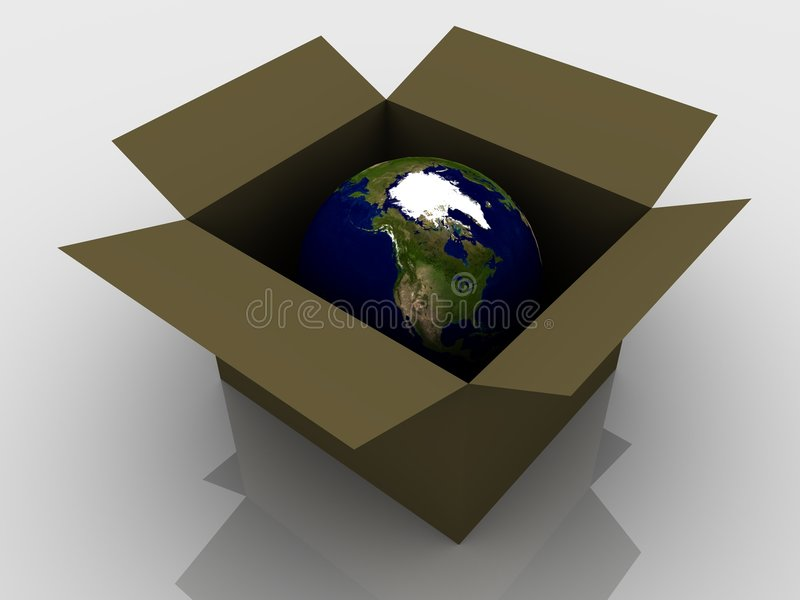Planet Earth in a box stock illustration