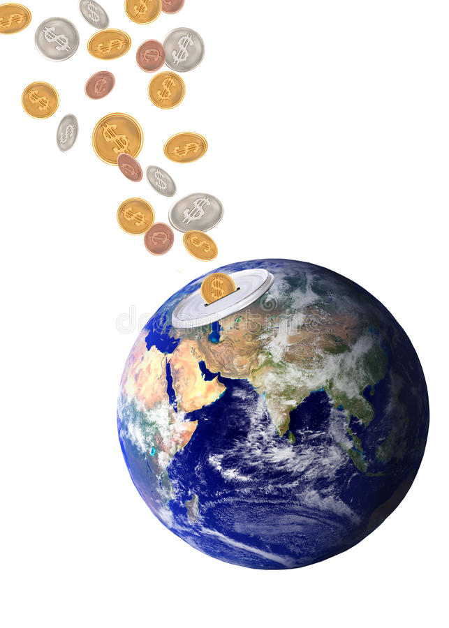 Planet Earth Catching Falling Dollars Royalty Free Stock Image