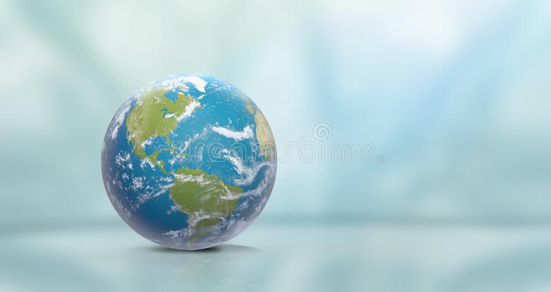 Planet Earth with clouds, North America and South America 3D-Illustration. Elements of this image furnished by NASA. Design stock illustration