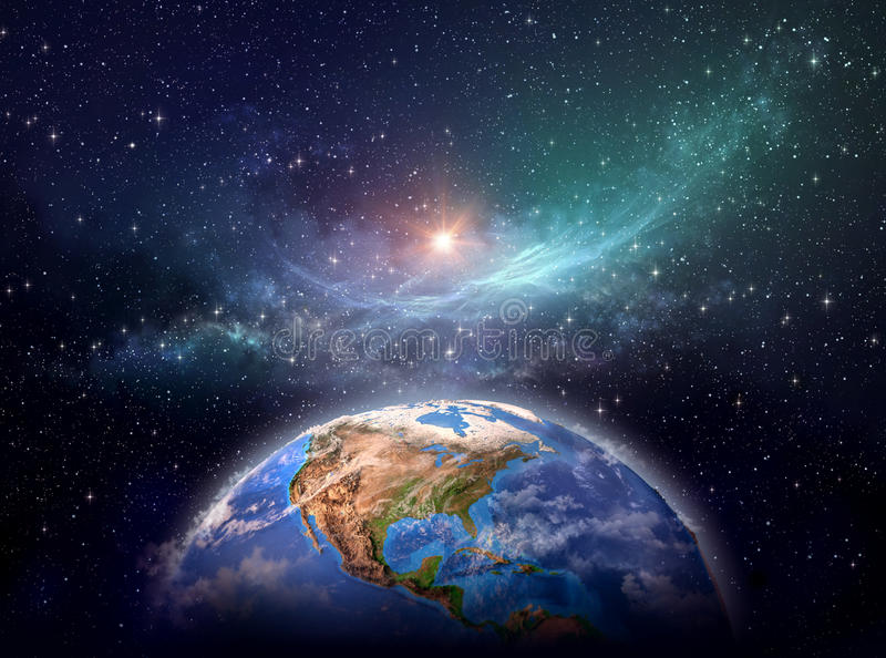 Planet Earth in cosmic space stock images