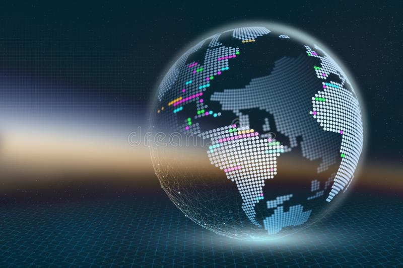Planet Earth 3D illustration. Transparent pixel map with luminous elements on a dark abstract background. Technologies of global d. Igital modernization. Visual royalty free illustration