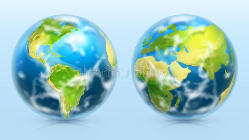 Planet Earth. 3d vector icon set stock illustration
