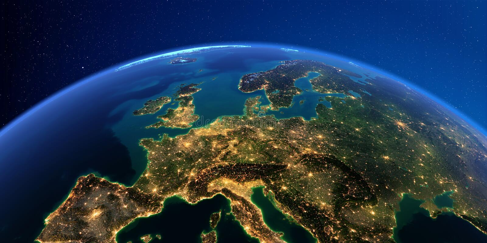 Detailed Earth at night. Central Europe royalty free illustration