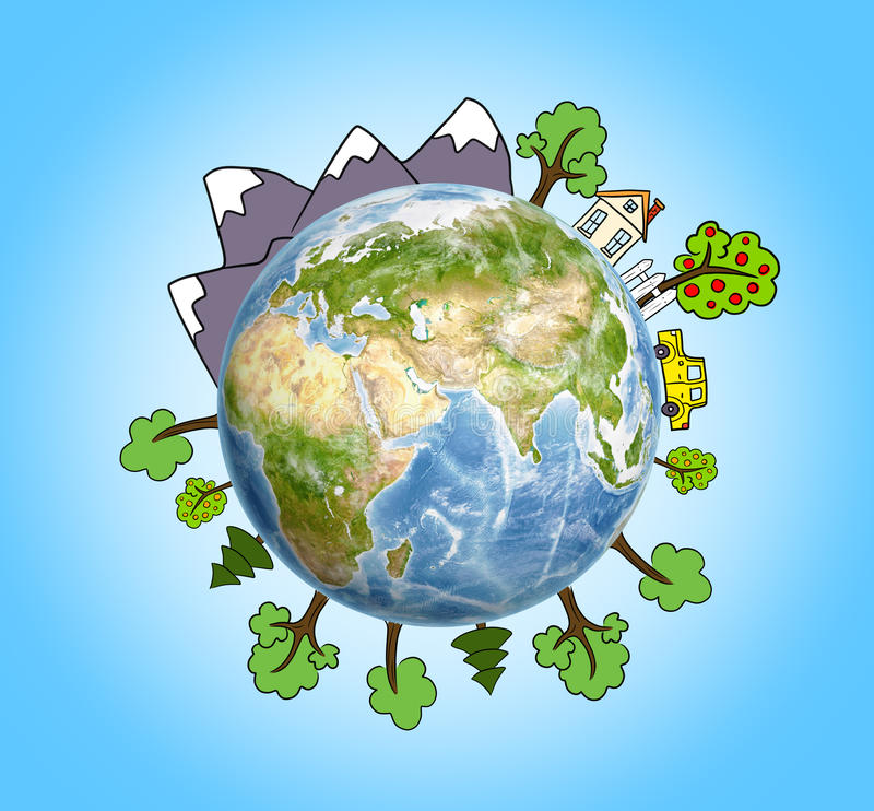 Planet Earth with drawn mountains, trees, house and car around it. royalty free illustration