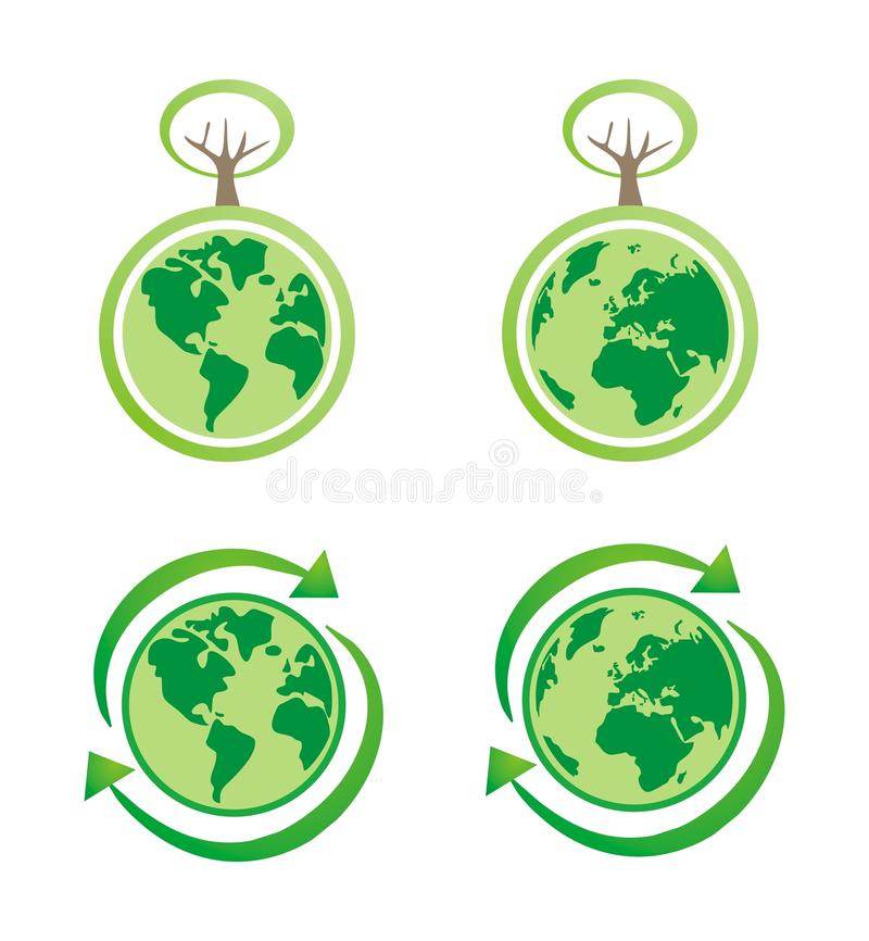 Planet Earth Eco Isolated Icons Royalty Free Stock Photography