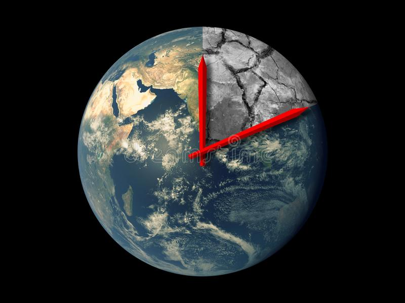 Planet Earth Ecology Death Countdown concept. Red hands clock on Earth running towards natural climate change disaster isolated. Planet Earth Ecology Death royalty free stock images