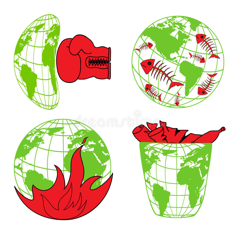 Planet Earth, environmental pollution, environmental disaster, ecology icons. For design stock illustration
