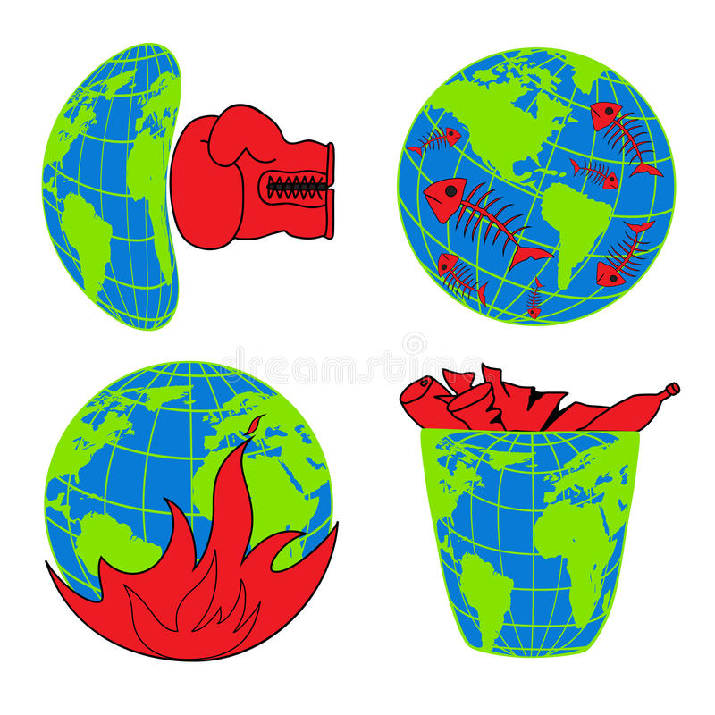 Planet Earth, environmental pollution, environmental disaster, ecology icons. For web-design vector illustration