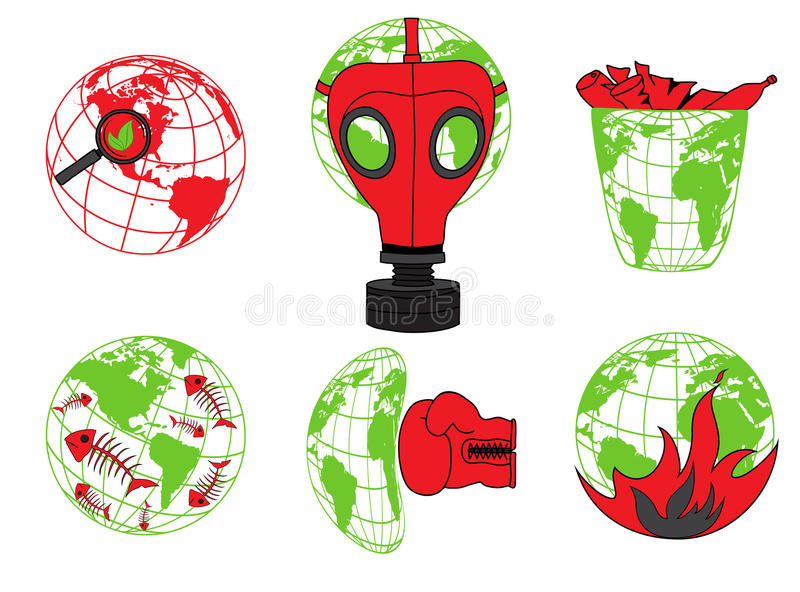 Planet Earth, environmental pollution, global disaster, ecology icons. For web-design royalty free illustration