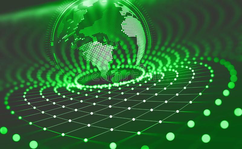Planet Earth in the era of digital technology. Global communication networks of future. Data storage system royalty free illustration