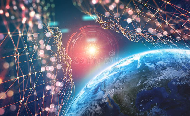 Planet Earth in the era of digital technology. Global communication networks of future. Data storage system. 3D illustration of Artificial Intelligence royalty free illustration