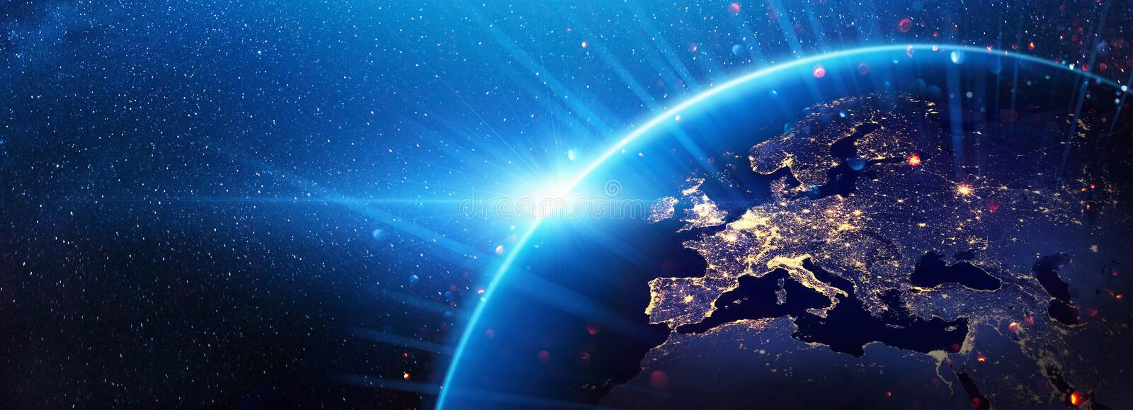 Planet Earth Europe from the Space at Night royalty free stock photography