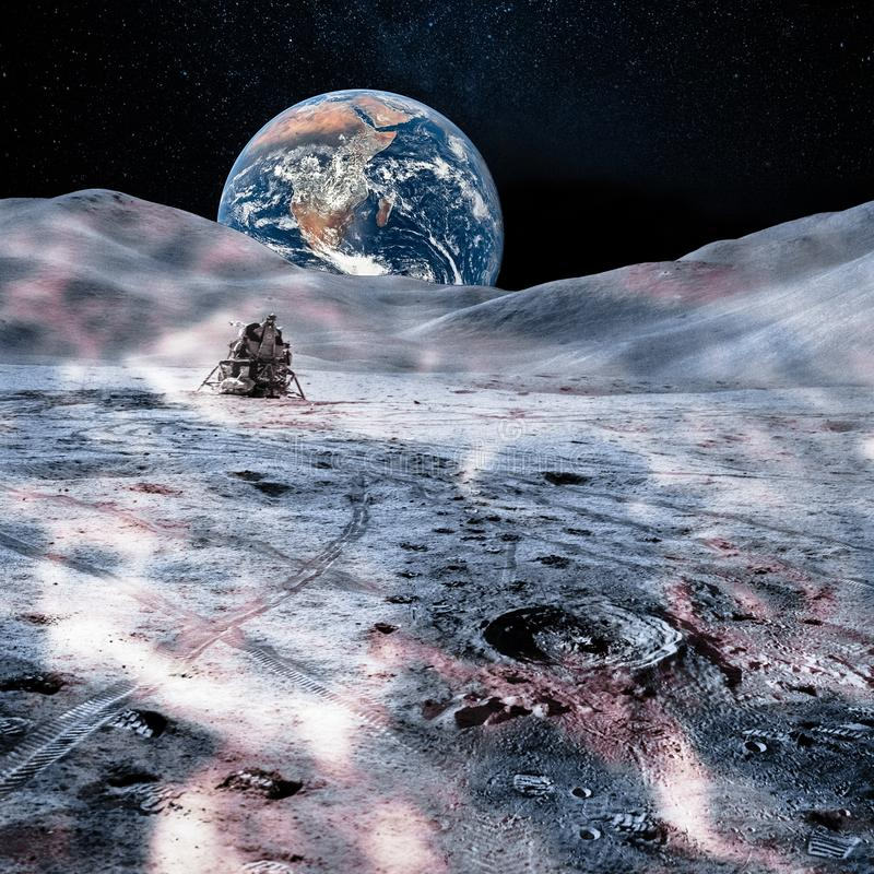 Planet Earth far away from the moon surface stock image