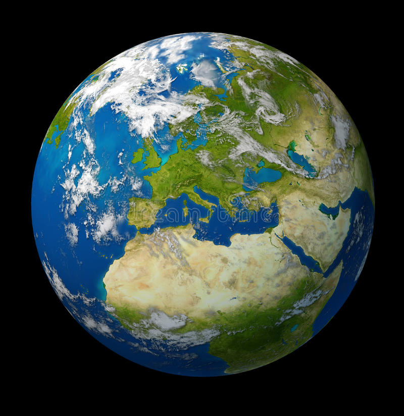 Planet Earth featuring Europe and European union royalty free illustration