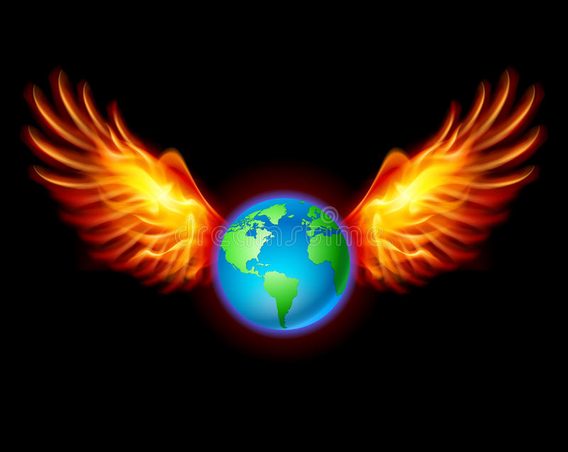 Download Planet The Earth With Fiery Wings Stock Vector - Illustration: 26373703