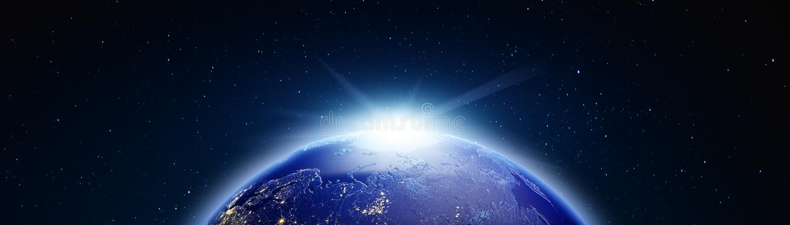 Planet Earth geography. 3d rendering. Planet Earth geography. Stars my own photo. Elements of this image furnished by NASA 3d rendering stock photography