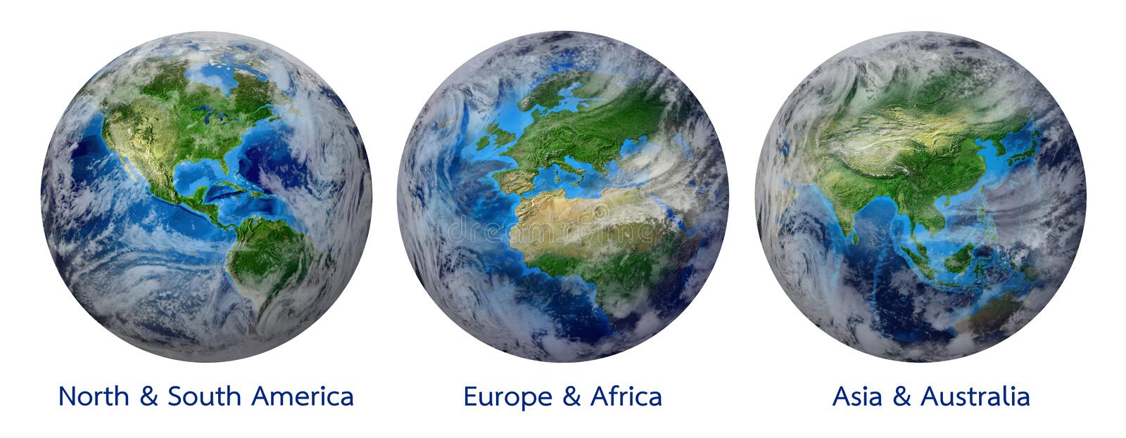Planet Earth, Global World showing America, Europe, Africa, Asia, continent vector illustration