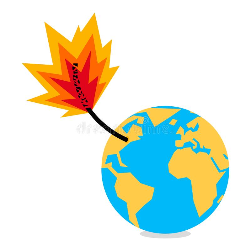 Planet earth globe with burning fuse, bomb, doom, climate change vector illustration