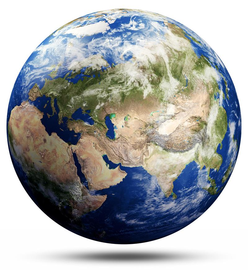 Planet Earth globe map - Asia. Elements of this image furnished by NASA. 3d rendering royalty free stock image