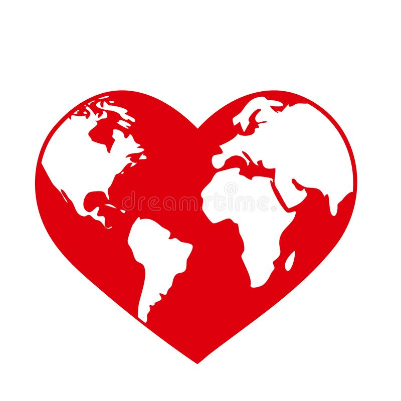 Planet Earth globe in the shape of a red heart. World health day or ecology environmental concept symbol isolated on royalty free illustration