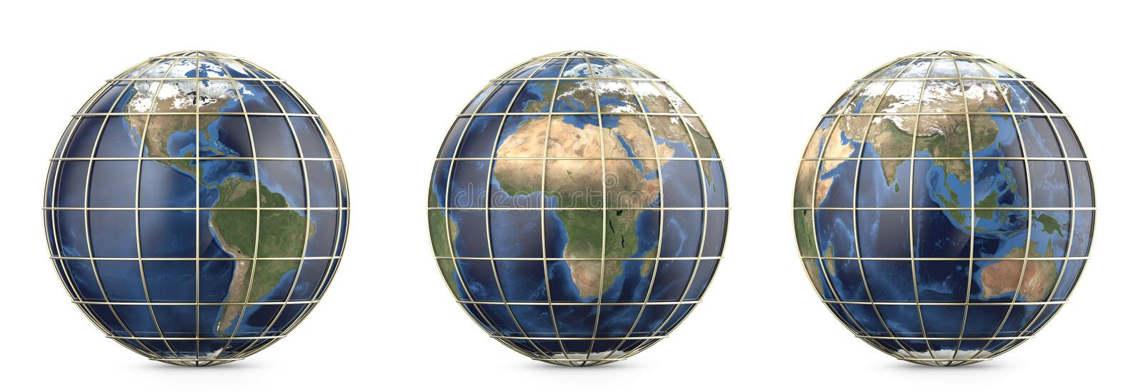 Planet earth with gold mesh. Showing America, Europe, Africa, Asia, Australia continent royalty free stock photos