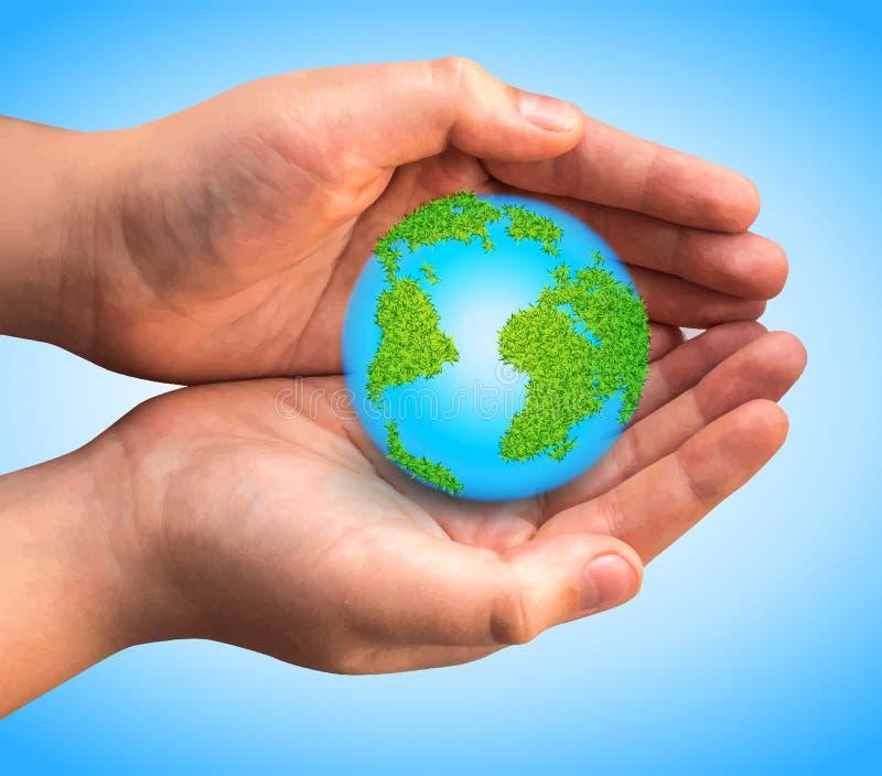 World globe vector illustration for Earth Day design stock photos